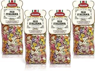 Livera Fiocchetti 6 Colores 4 X 500 Gr, Pasta Cortas de Sémola de Trigo Duro 100% Made in Italy, Pasta con Sabor y Color, Fiocchetti Artesanales, Pasta Artesanal italiana Seca de Alta Calidad