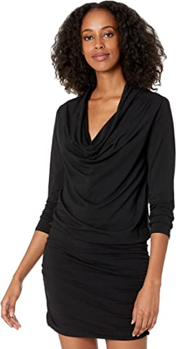 Draped Modal Jersey Shirred Cowl Neck Dress