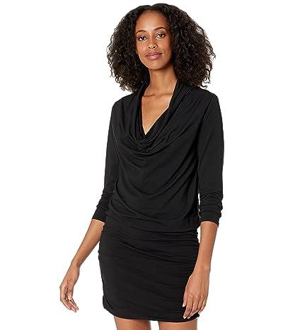 bobi Los Angeles Draped Modal Jersey Shirred Cowl Neck Dress