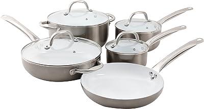 Oster Cocina 109478.09 Montecielo 9pc Aluminum Cookware Set, Metallic Titanium