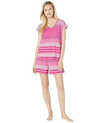 LAUREN Ralph Lauren Short Sleeve Dolman Sleeve V-Neck Boxer Pajama Set (Pink Stripe) Women