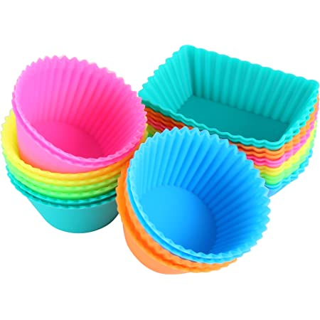 Ipow 24 Pack Silicone Cupcake Baking Cups Reusable Food Grade Bpa Free Non Stick Muffin Liners Molds Sets 2 Shapes Round Rectangle Kitchen Dining