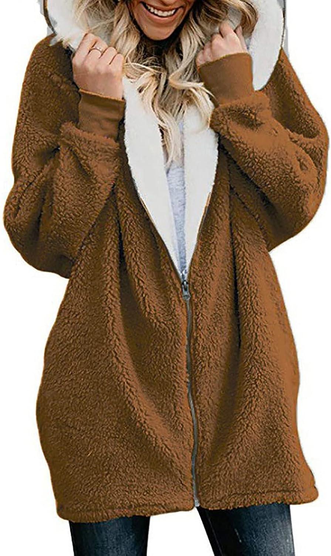 Uppada Women's Oversized Sherpa Jackets Hooded Cold Winter Fleece Zipper Coat Brown Fluffy Soft Thicken Pockets Outwear