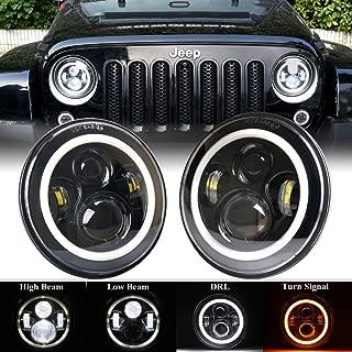 DDUOO 7inch Jeep Wrangler LED Headlights High/Low Beam W/Y Halo Headlights for Jeep Wrangler JK JKU TJ LJ CJ Hummer H2 (2 Pack-Black)