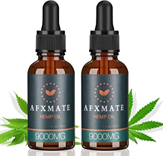 (2-Pack) Hemp Oil for Pain & Anxiety Relief - 9000MG of Organic Hemp Extract, 100% Natural Dietary Supplement, Rich in Vitamin & Omega, Helps with Sleep, Skin & Hair, Improve Health