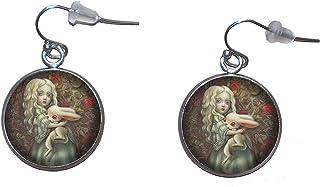 Orecchini pendenti in acciaio inossidabile, diametro 20 mm, fatto a mano, illustrazione Alice nel paese delle meraviglie