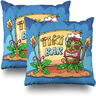 Suesoso Decorative Pillows Case Pack of 2, 18 x 18 Inch 2 Sides Printed Soft Cotton Tiki Bar with Cartoon Style Nice Gift Indoor Throw Pillow Cover Decorative Home Decor