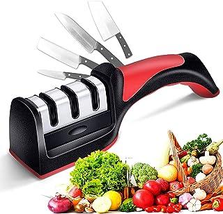 kitchen Knife Sharpener Scissor Sharpening 4 in 1 tool, Stainless Steel, Non-slip Base and Ergonomic Design with Cut Resis...