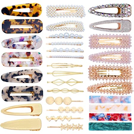 2Pcs Womens Girls Pearl Hair Clips Comb Bobby Pin Barrette Hairpin Slide Grips