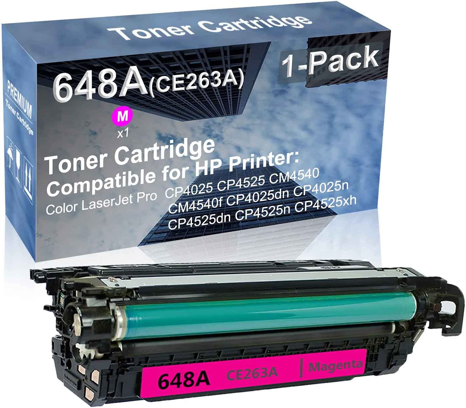 1-Pack (Magenta) Compatible High Yield 648A (CE263A) Laser Printer Toner Cartridge use for HP CP4525dn CP4525n CP4525xh Printer