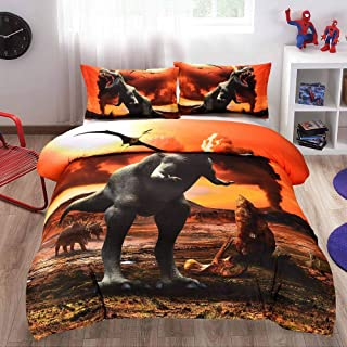 LSQQA 3D Quilt Cover Pillowcase Kids Bedroom Bohemian Style Twin Full Queen King Size Bedding Dinosaur Volcano Eruption,NYY,75,1,US King