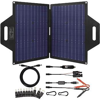 TP-solar 60 Watt Foldable Solar Panel Battery Charger Kit for Portable Generator Power Station Cell Phones Laptop 12V Car Boat RV Trailer Battery Charge (Dual 5V USB & 19V DC Output)