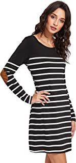 Milumia Women's Elbow Patch Striped Scoop Neck Tee Dress Black