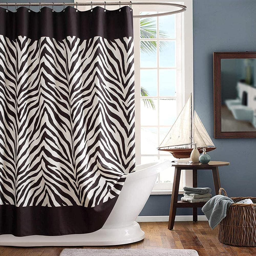 giyiohok White and Black Polyester quality Luxury goods assurance Fabric Shower Curtain Printed