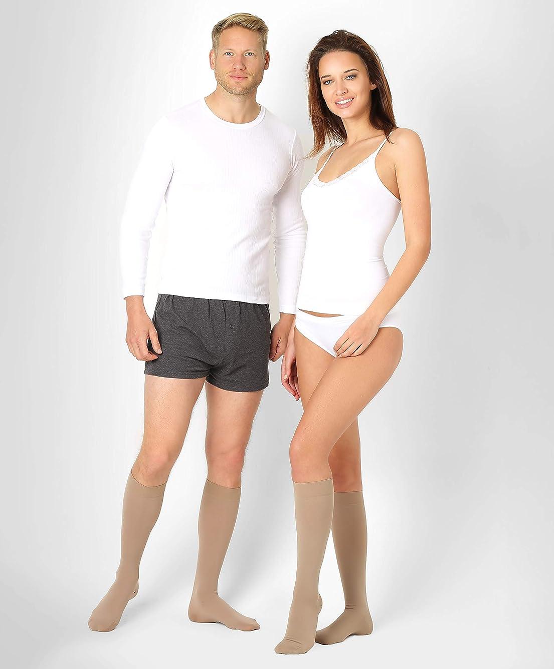 バス波入学するBeFit24医療用着圧ソックスクラス2 (23-32 mmHg) 男性?女性用 ー あらゆるライフスタイルのニーズに対応ヨーロッパ製 Medium Beige 2rost