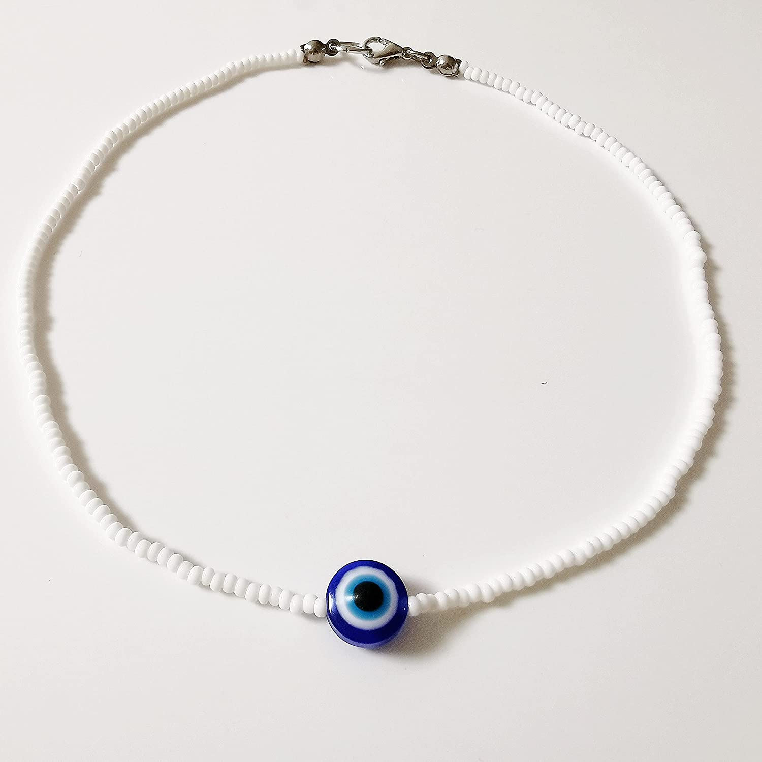 Protection from evil eye white small beaded choker Max 74% OFF for Kansas City Mall necklace