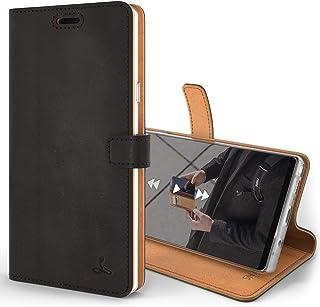 Snakehive Note 9 Handy Schutzhülle/Klapphülle echt Lederhülle mit Standfunktion, Handmade in Europa für Note 9   (Schwarz)