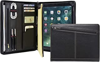 Business Slim Padfolio Organizer Genuine Leather Compact Portfolio Case with Letter Size (A4) Paper Notepad, Business Carrying Case (iPad Pro 12.9(2017))