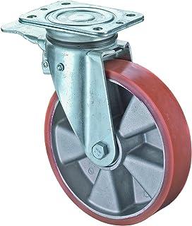 BS wieltjes N120.B90.154 Zwenkwiel met vastzetter, Ø 150 mm, montageplaat, polyurethaanwiel, wiellichaam aluminium