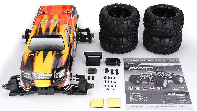 protección post-venta Comomingo Comomingo Comomingo ZD Racing 9116 1 8 Escala Bigfoot RC Coche Cuerpo Chasis Bastidor Cubierta de Shell del camión (Naranja y Amarillo)  precio mas barato
