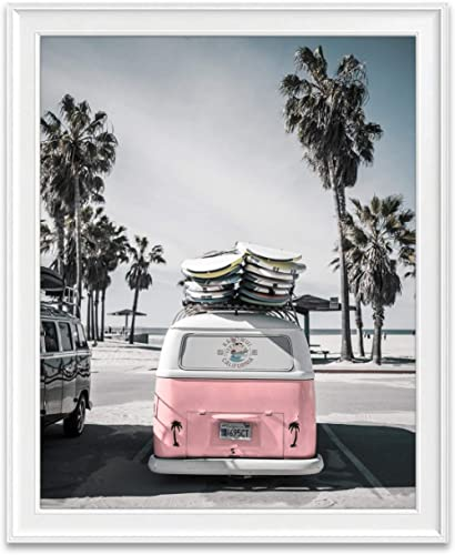 Classic Antique Van at Beach Ocean Nautical Photography Print, Unframed, Coastal Palm Trees Home and Wall Decor, 8x10...