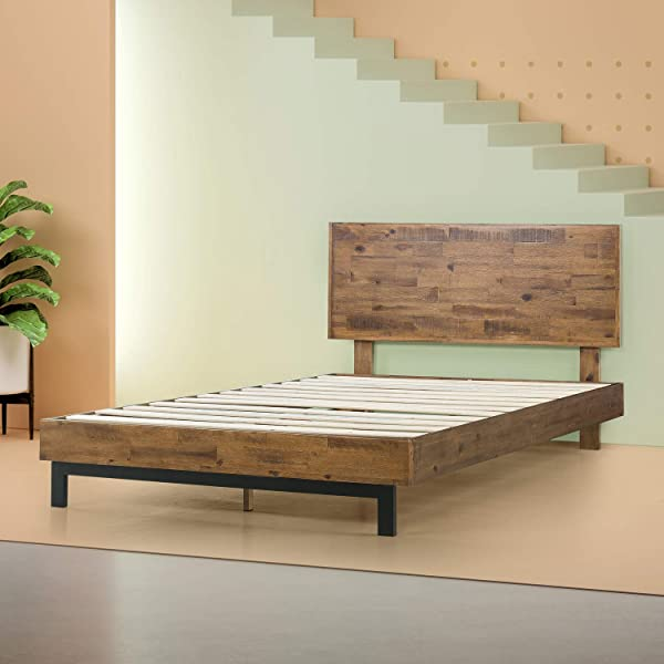 Zinus Tricia Platform Bed Mattress Foundation Box Spring Replacement Brown Full