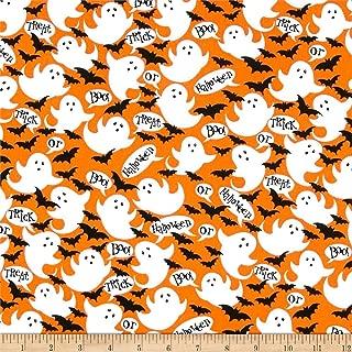 Santee Print Works Halloween Ghost Boo Fabric, Orange/White, Fabric By The Yard
