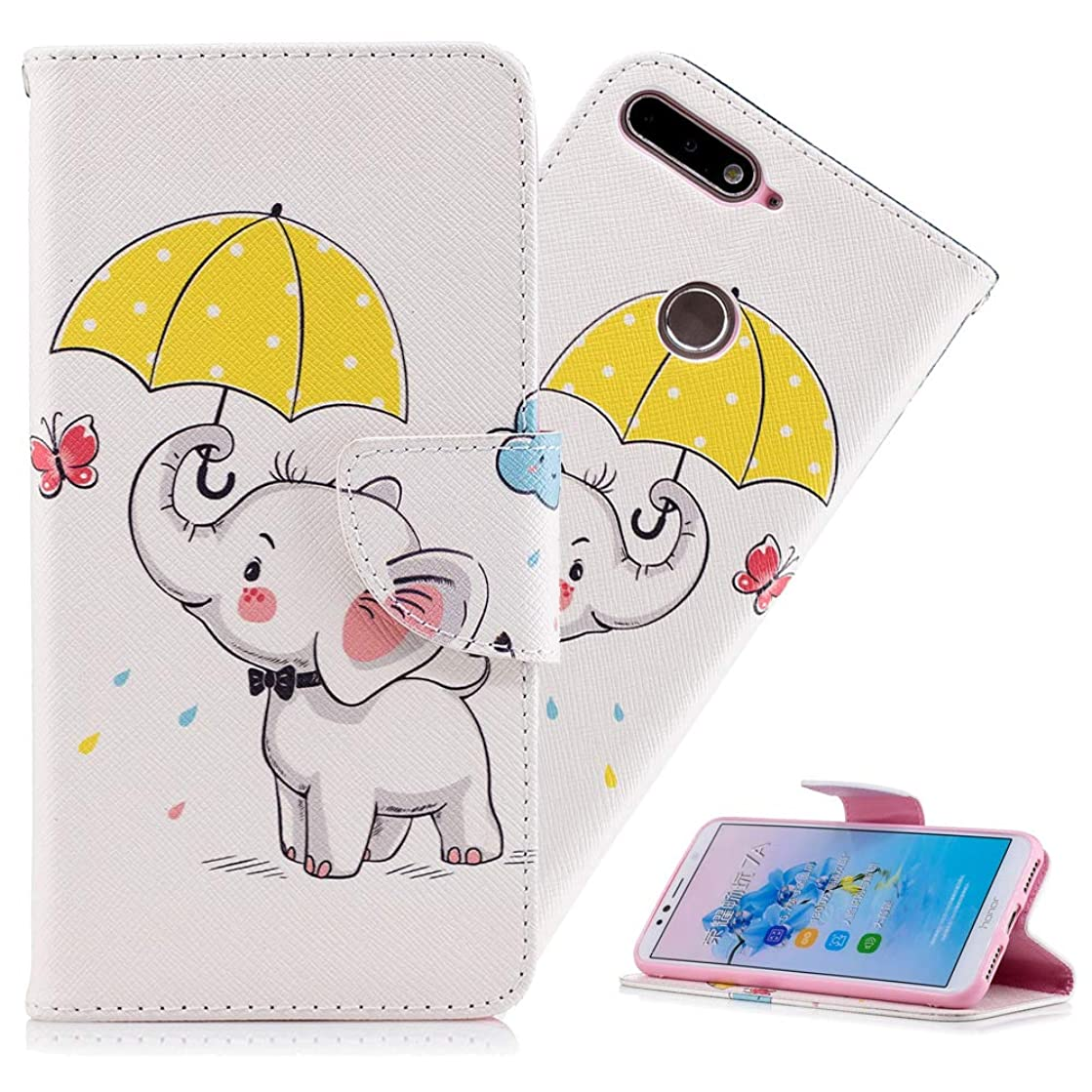 HMTECHUS Huawei Honor 7A Case Design Printing Flamingo Retro Panda Floral Wallet Folio Flip PU Leather with Stand Card Holder Slots Protective Cover for Huawei Y6 2018 Umbrella Dumbo BF