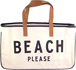 Beach Please Large Canvas Tote Bag with Leather Handles, 20 Inch