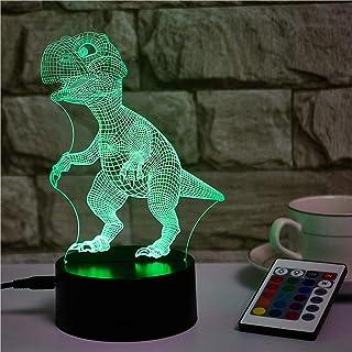 3D Ilusión óptica luz nocturna, dinosaurio 3D Ilusión óptica LED Lámpara, lámpara de ilusión 3D 16 colores cambian con mando a distancia, para la familia de amigos de los niños