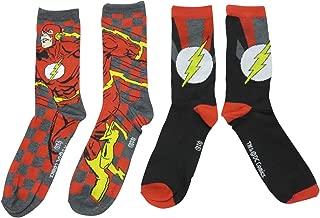 The Flash In Motion Crew Socks 2 Pair Pack New Licensed Superhero DC Comics