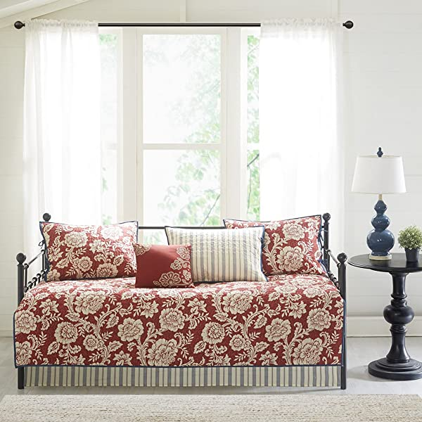 Madison Park Lucy Daybed Size Quilt Bedding Set Red Navy Reversible Floral Stripes 6 Piece Bedding Quilt Coverlets Cotton Twill Cotton Poly Blend Reverse Bed Quilts Quilted Coverlet