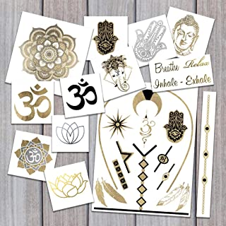 Yoga Pack Temporary Tattoos | Skin Safe | MADE IN THE USA| Removable