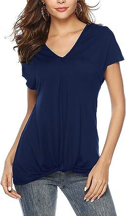BeLuring Tops Camiseta para Mujer Camiseta retorcida Túnica con Cuello en v de Manga Corta Tops Camisas