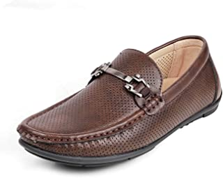 tresmode Brown Driving Loafers for Men