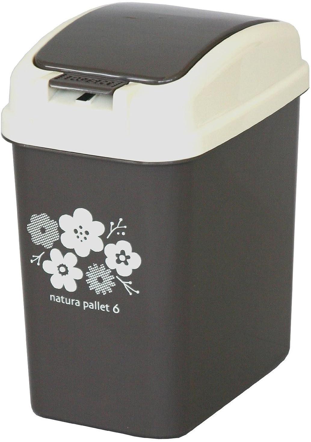 ホップ正気細心の平和工業 ゴミ箱 プッシュペール 6L チョコレートブラウン