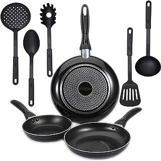 Juego de 3 sartenes San Ignacio (Ø16,20,24cm) en aluminio prensado, inducción, y 4 utensilios de cocina en nylon