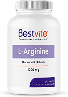 L-Arginine 1000mg per Tablet (240 Tablets) containing 20% More Pure L-Arginine as Compared to L-Arginine HC...