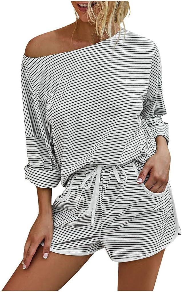 Women Pajamas Set Shorts,Womens Loungewear Sets Stripe Long Sleeve Tops and Shorts 2 Piece Pajamas Sets Sleepwear