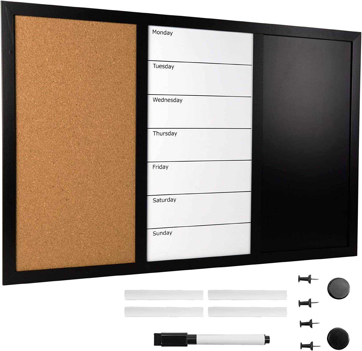 Wall Board Combo Whiteboard Corkboard & Chalkboard: Magnetic Large Weekly Daily Planner Note Reminder Wall Mounted Task Organizer 23.5