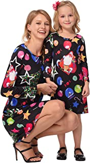 Mother Daughter Dresses Family Christmas Mommy and Me Matching Outfits for Women Girl Pullover Short Gown