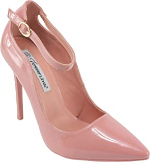 Women's Grace-8P Patent Leatherette Pointed Toe Ankle Strap Stiletto High Heel Dress Pump