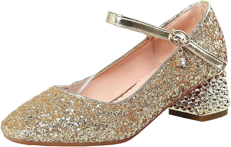 Artfaerie Women's Chunky Heel Court shoes Wedding Bridals Glitter Pumps with Buckle