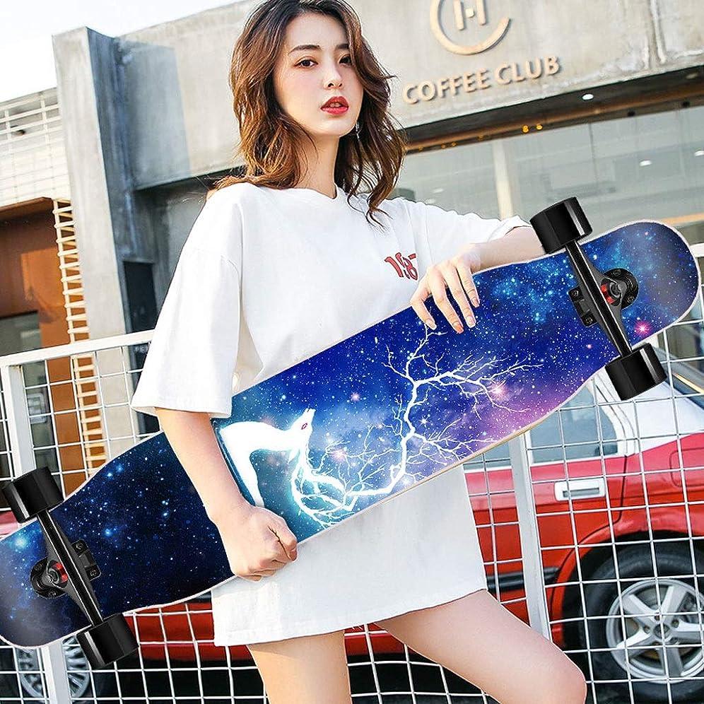 添付クリーム粘着性KTYXDE スクーターメイプルロングボードブラシストリートダンスボード四輪ダブルスケートボードスケートボード初心者ティーンボーイガールプロスケートボード (色 : E)