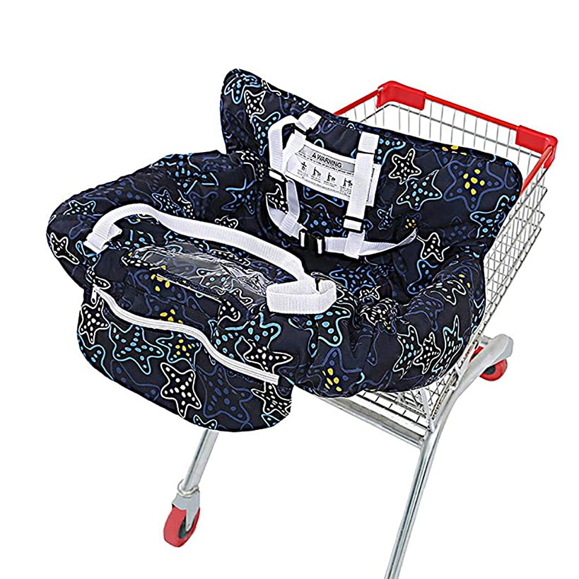 Multifunctional 2-in-1 Shopping Cart Seat Cover High Chair Cover for Baby & Infant - Starnight Black (1)