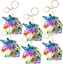 ArtCreativity Unicorn Keychains, Pack of 6, Color Changing Double-Sided Stuffed Animal Plush Key Chain Charms for Backpack...