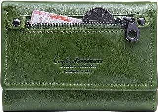 Contacts Portafoglio borsellino portafogli donna in vera pelle bifold con portamonete (Verde 2)