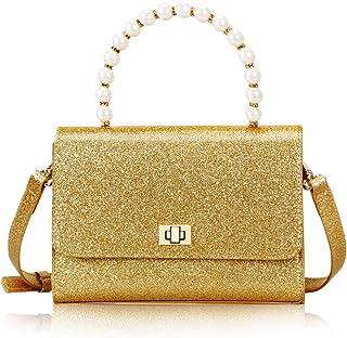 FYY Damen Umhängetasche Funkelnde Pailletten Schultertasche Oberhandgriff Geldbörse mit Metallschnallen und Perlengriff-Gold