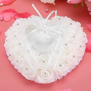Okuyonic Coussin de Bague de Mariage Design Compact Romantique en Forme de Coeur Rose Strass décor Romantique Bague de Mar...