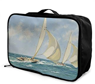 Packing Cubes Sailboat Travel Luggage Bag Receive Storage Organizer Large Portable Set with Handle